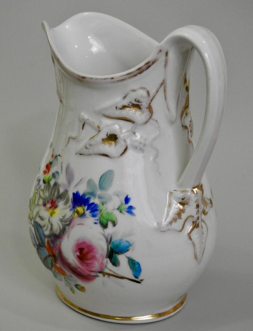 Antique Old Paris Porcelain Painted Pitcher Jug - 2
