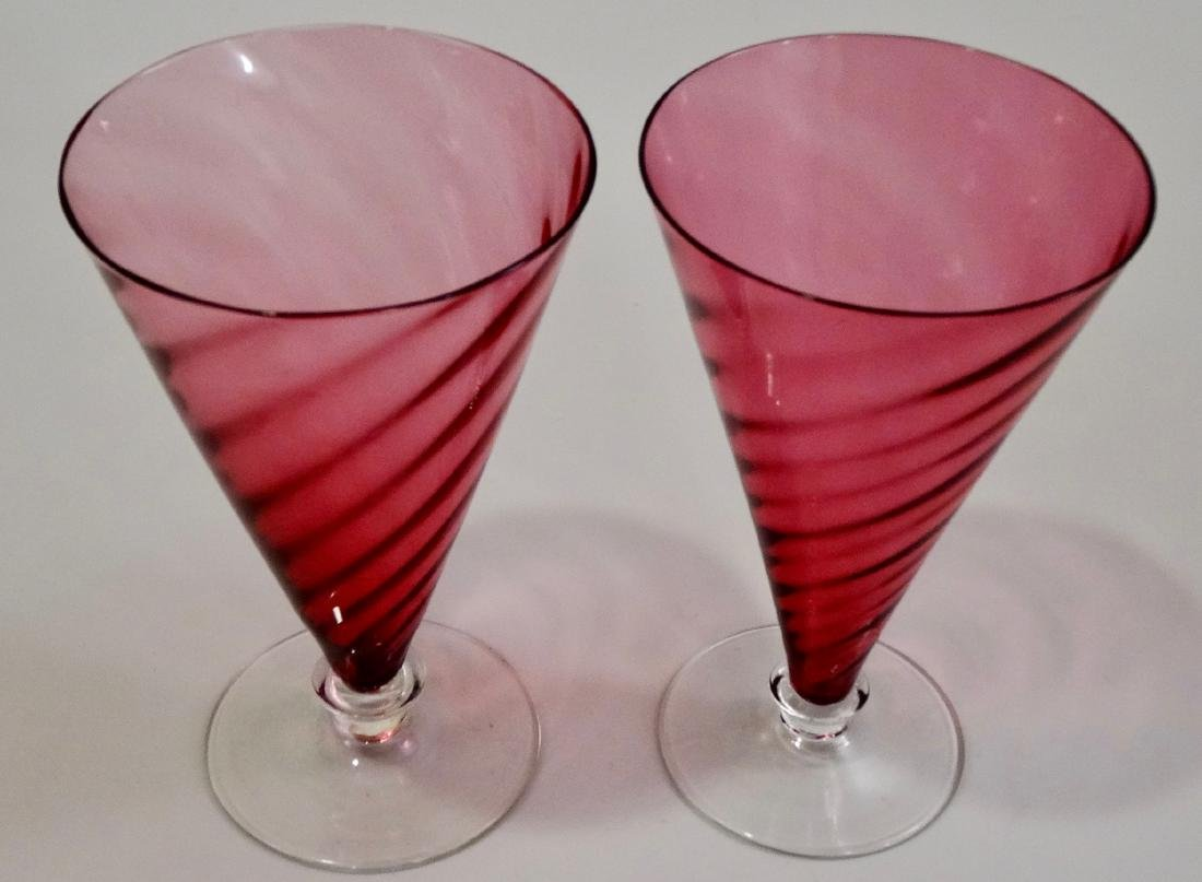 Cranberry Glass Cones Beverage Water Glasses Pair - 3