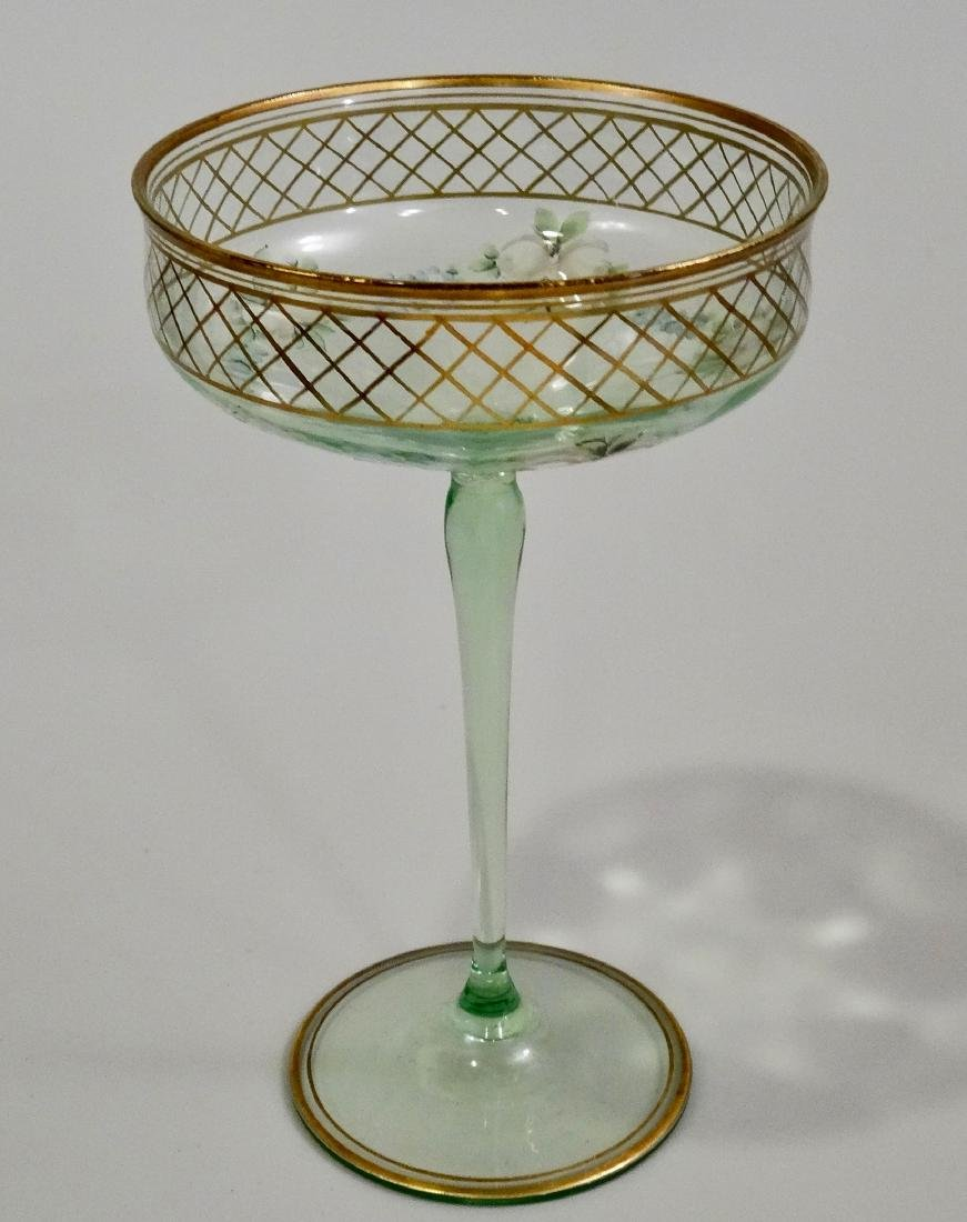 Vintage Art Deco Enamel Painted Green Tall Sherbet Stem - 2