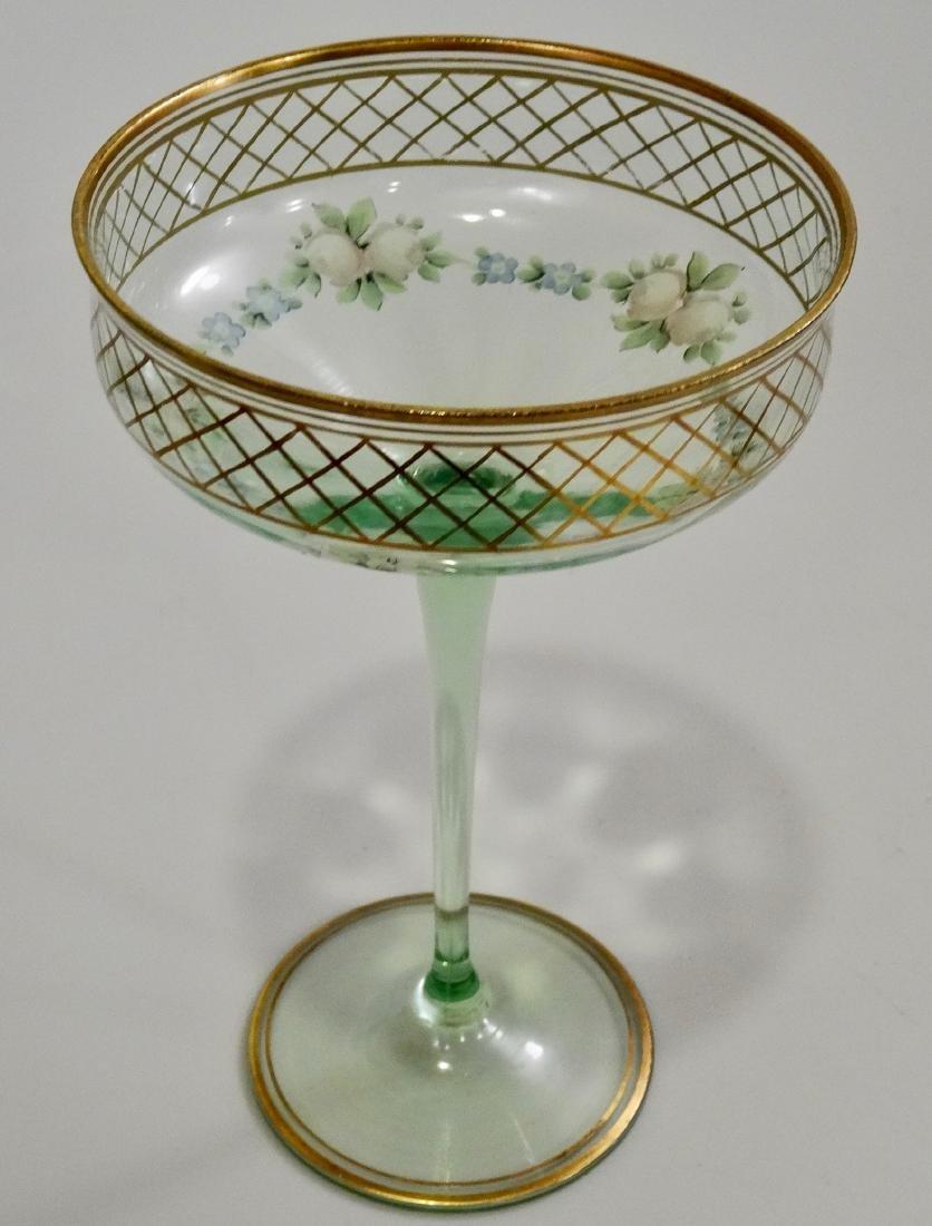 Vintage Art Deco Enamel Painted Green Tall Sherbet Stem - 3