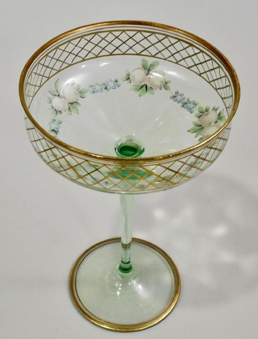 Vintage Art Deco Enamel Painted Green Tall Sherbet Stem - 4