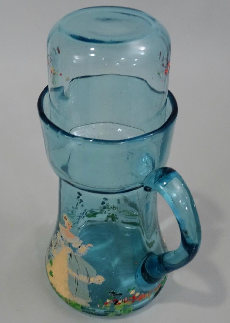 Art Deco Blue Painted Glass Water Pitcher Tumbler - 2