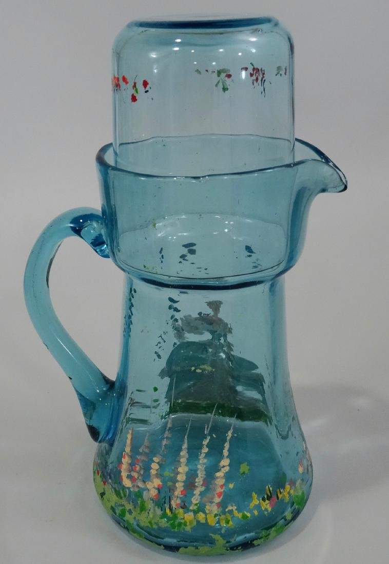 Art Deco Blue Painted Glass Water Pitcher Tumbler - 3