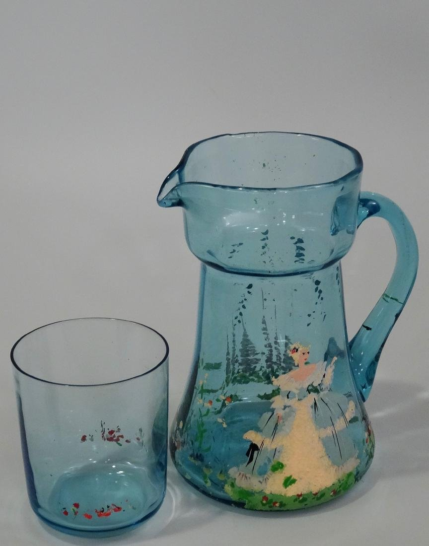 Art Deco Blue Painted Glass Water Pitcher Tumbler - 4