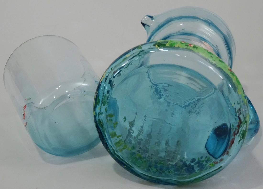 Art Deco Blue Painted Glass Water Pitcher Tumbler - 5