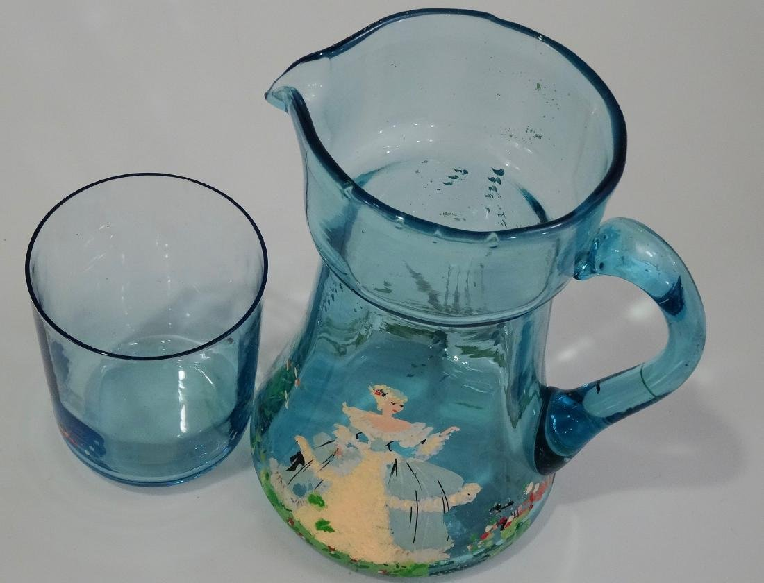Art Deco Blue Painted Glass Water Pitcher Tumbler - 6
