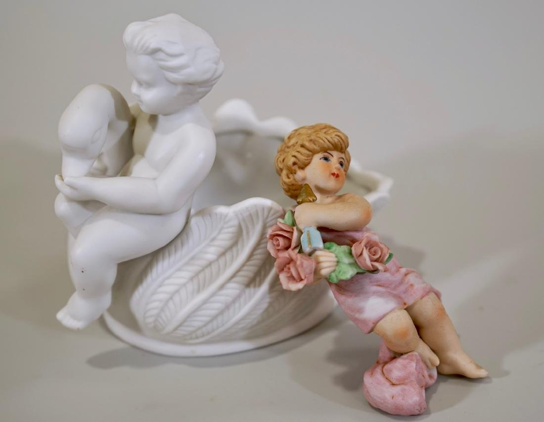 Bisque Porcelain Putti Figurines Lot of 2 - 2
