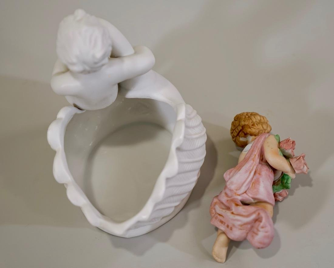 Bisque Porcelain Putti Figurines Lot of 2 - 5