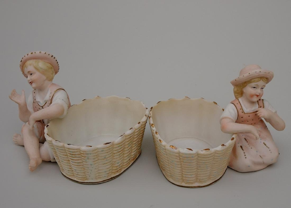 Vintage Bisque Porcelain Figurines Children next to - 2