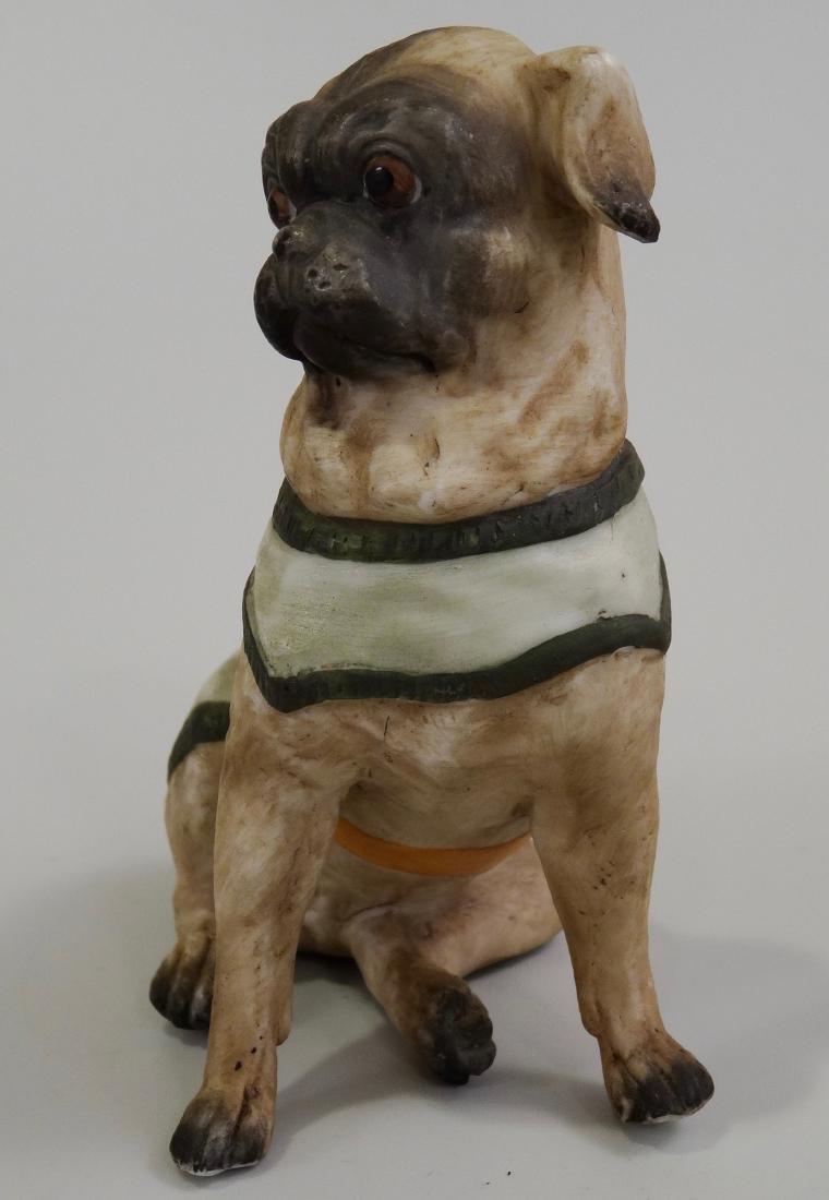 German Bisque Porcelain Pug Dog Figurine Ernst Bohne & - 2