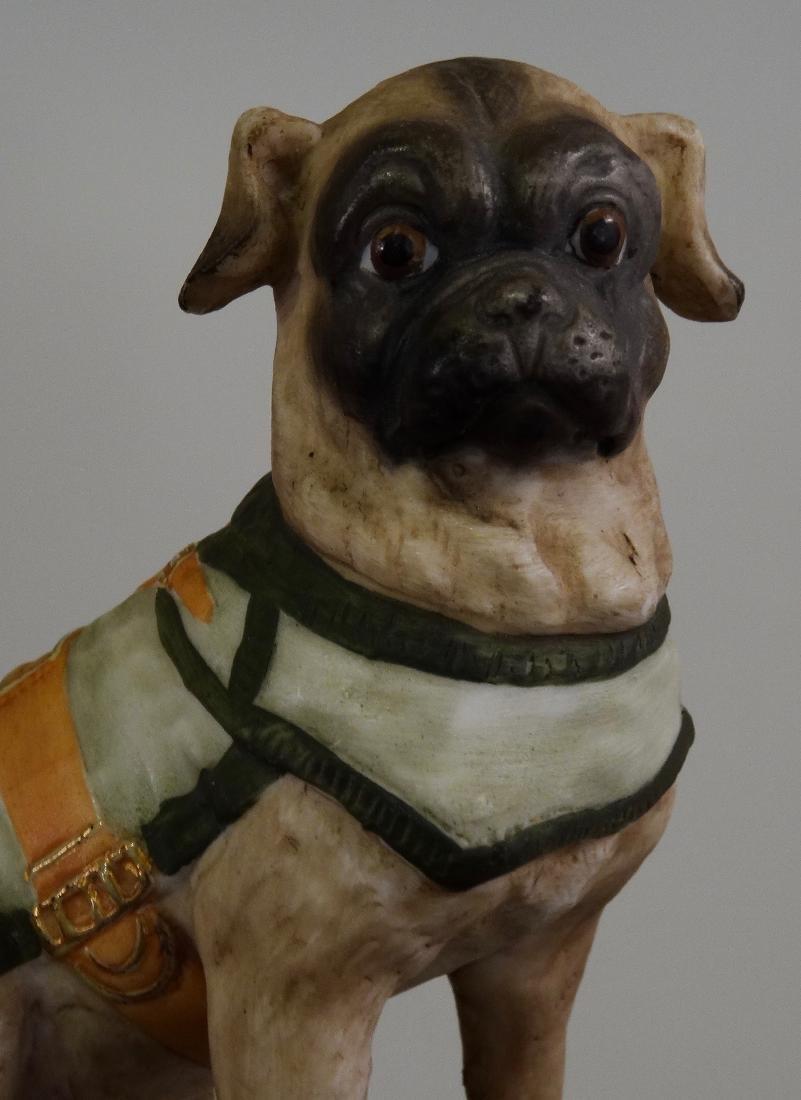 German Bisque Porcelain Pug Dog Figurine Ernst Bohne & - 3