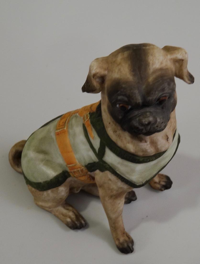 German Bisque Porcelain Pug Dog Figurine Ernst Bohne & - 4