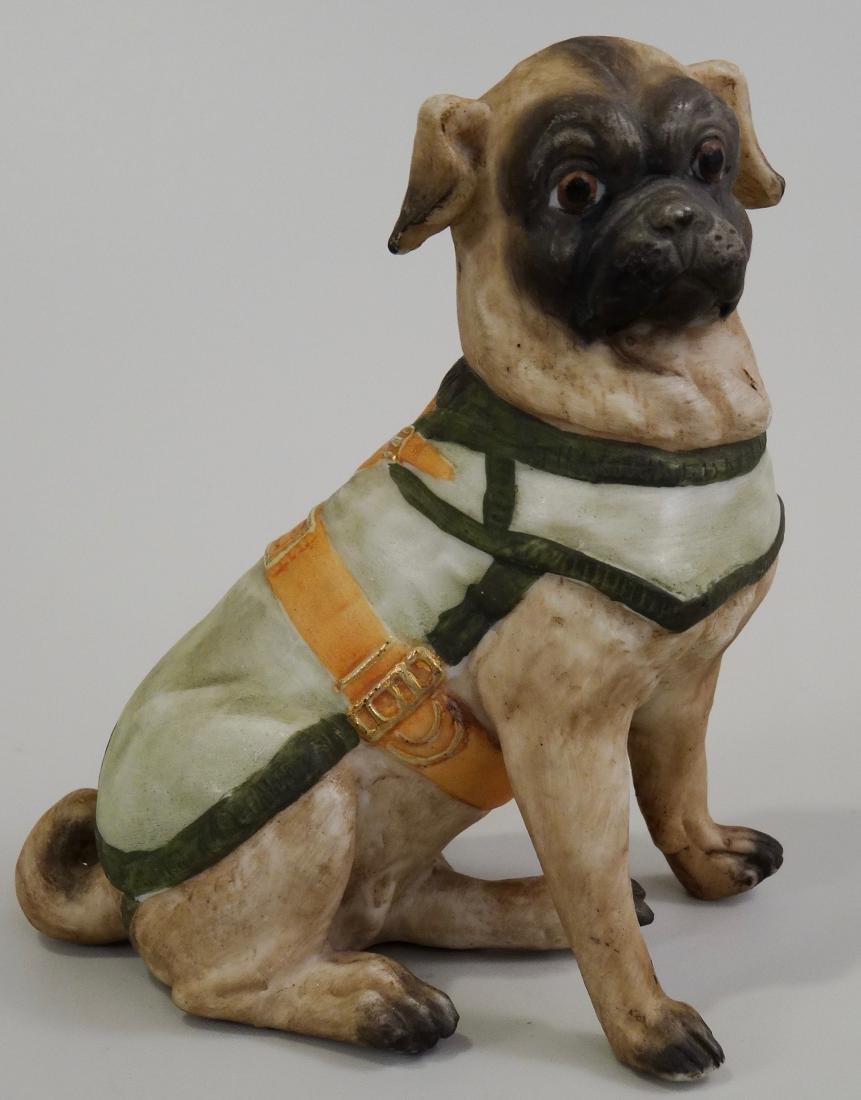 German Bisque Porcelain Pug Dog Figurine Ernst Bohne & - 7