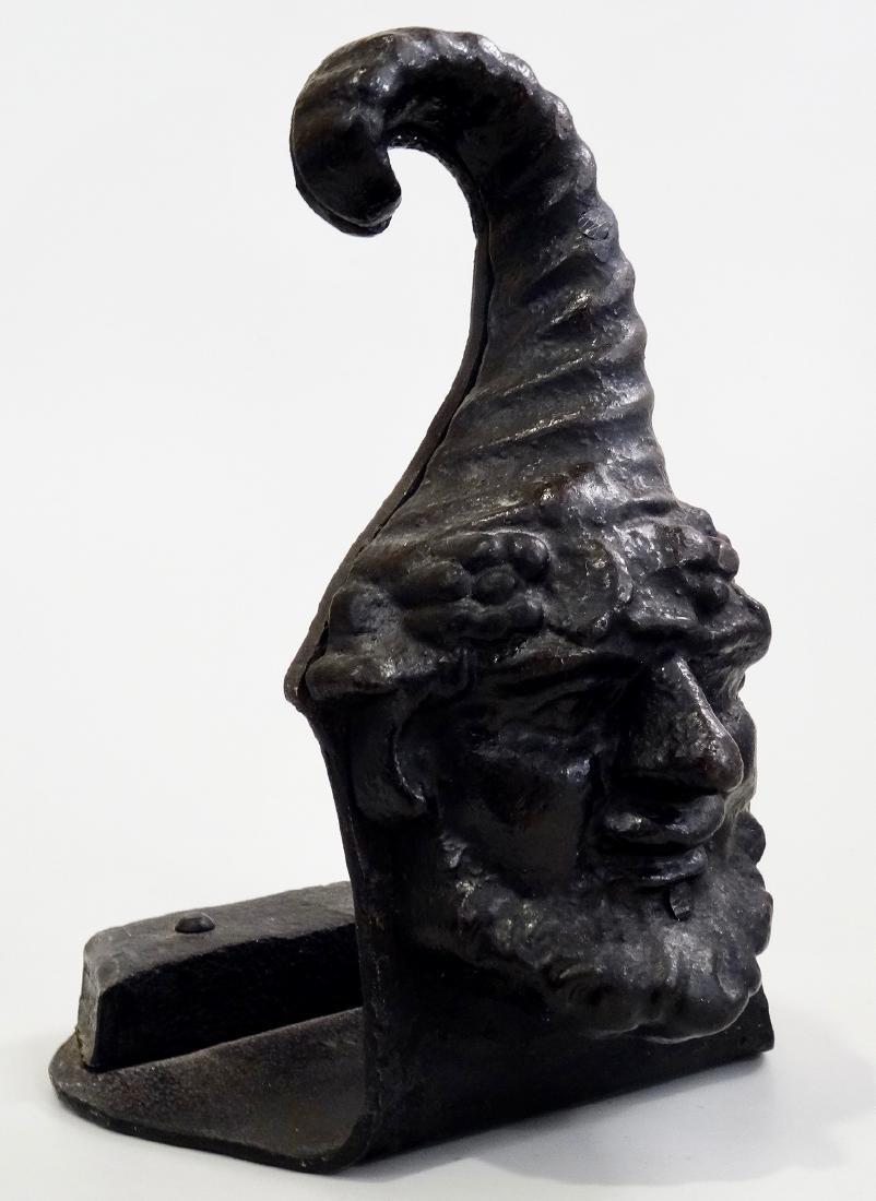 Antique Gnome Head Cast Iron Doorstop Leprechaun - 2
