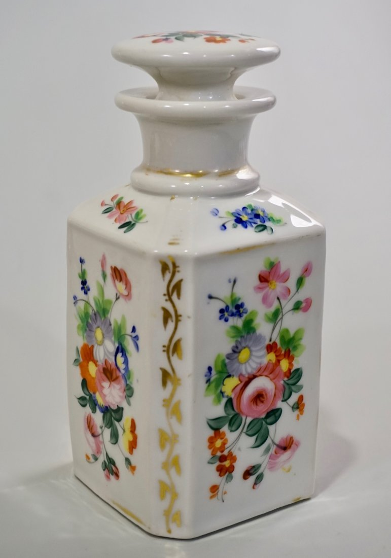 Old Paris Porcelain Cologne Scent Bottle Ground Stopper