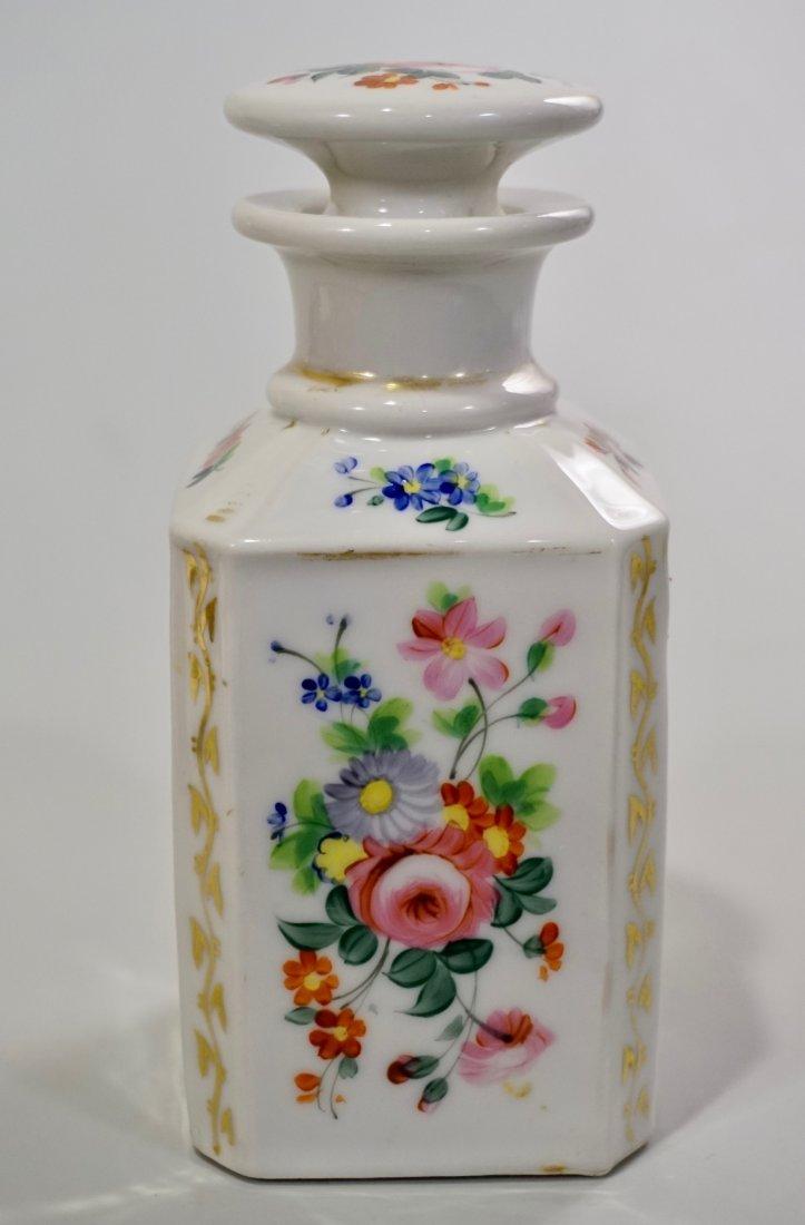 Old Paris Porcelain Cologne Scent Bottle Ground Stopper - 2