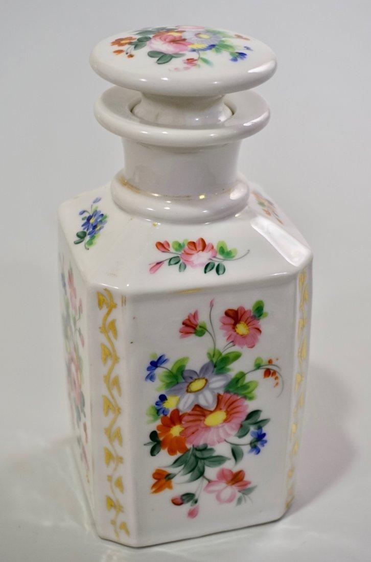 Old Paris Porcelain Cologne Scent Bottle Ground Stopper - 3