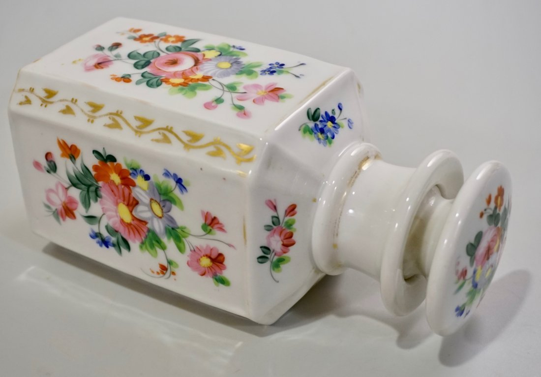 Old Paris Porcelain Cologne Scent Bottle Ground Stopper - 4