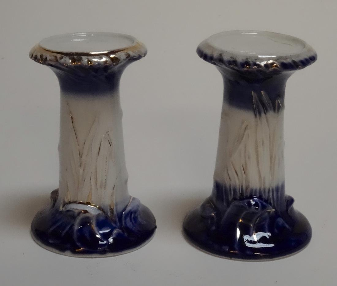 Antique Flow Blue Porcelain Candle Stand Pair