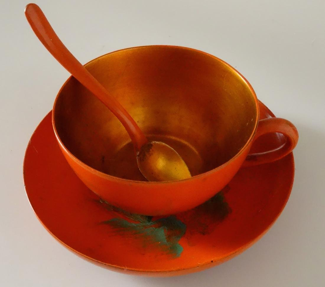 Vintage Japanese Lacquer Tea Cup Saucer and Spoon