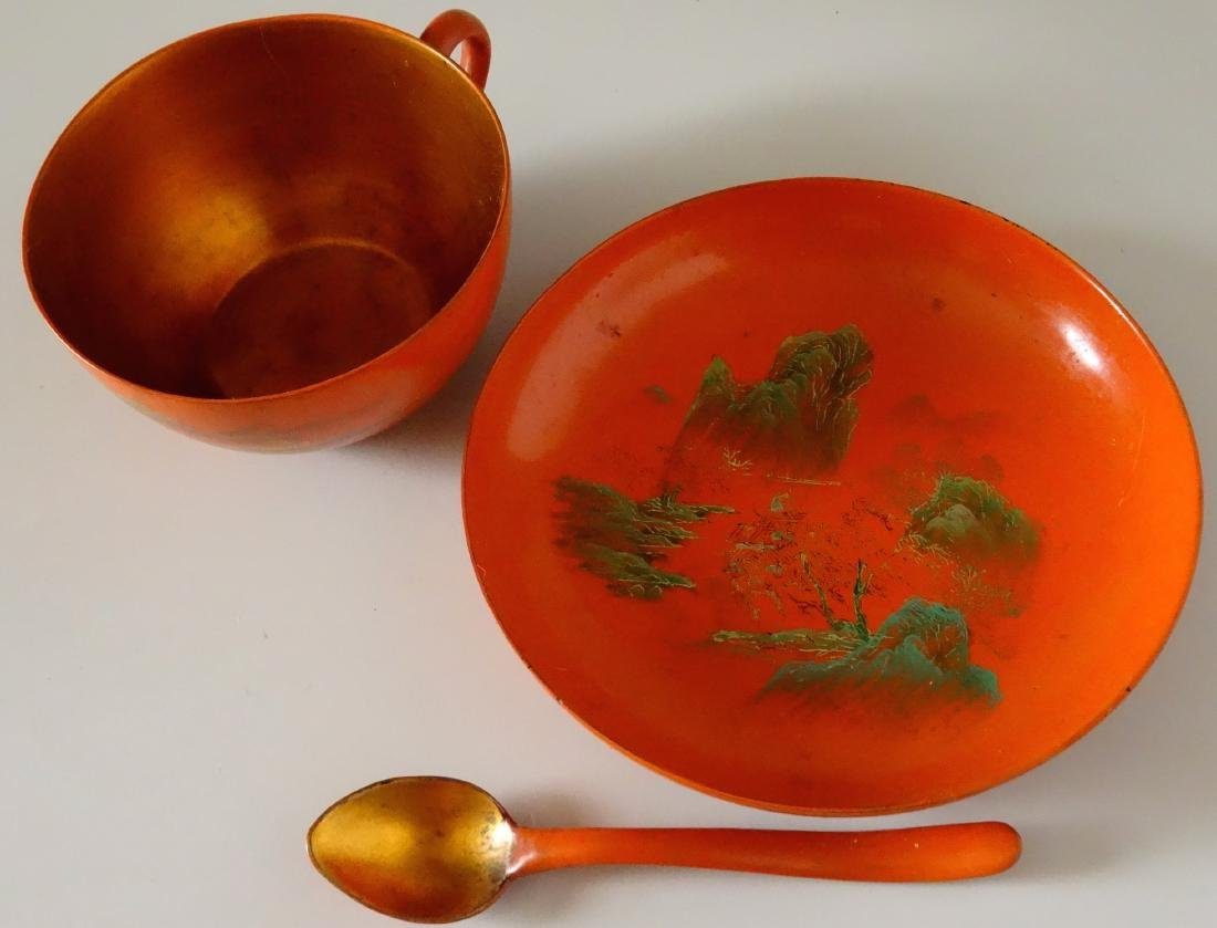 Vintage Japanese Lacquer Tea Cup Saucer and Spoon - 2