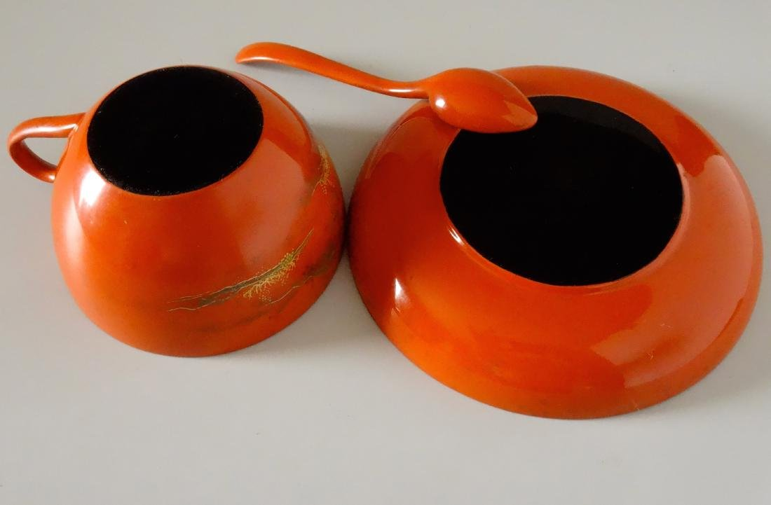 Vintage Japanese Lacquer Tea Cup Saucer and Spoon - 6