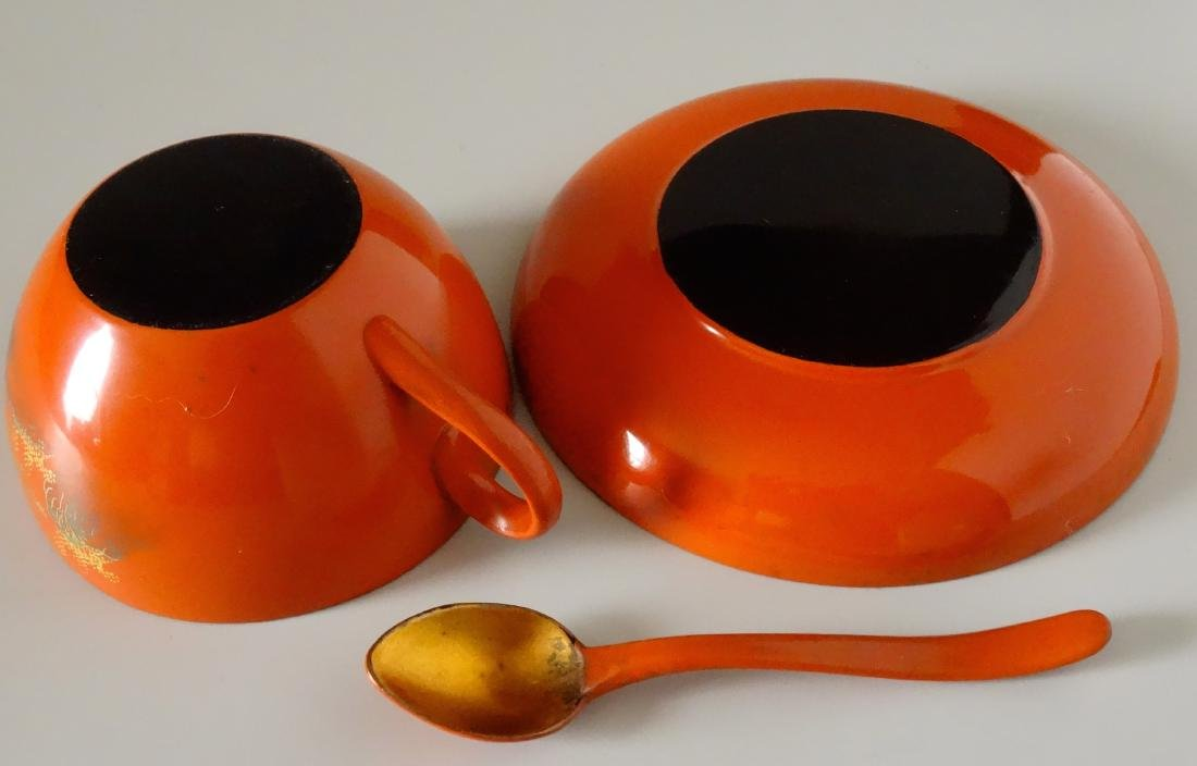 Vintage Japanese Lacquer Tea Cup Saucer and Spoon - 7