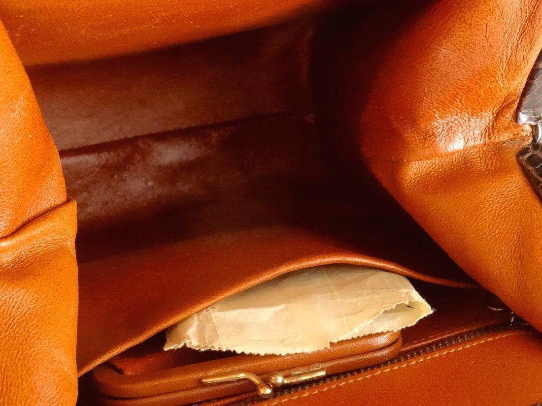 Vintage Alligator Brown Leather Ladies Bag Purse - 5