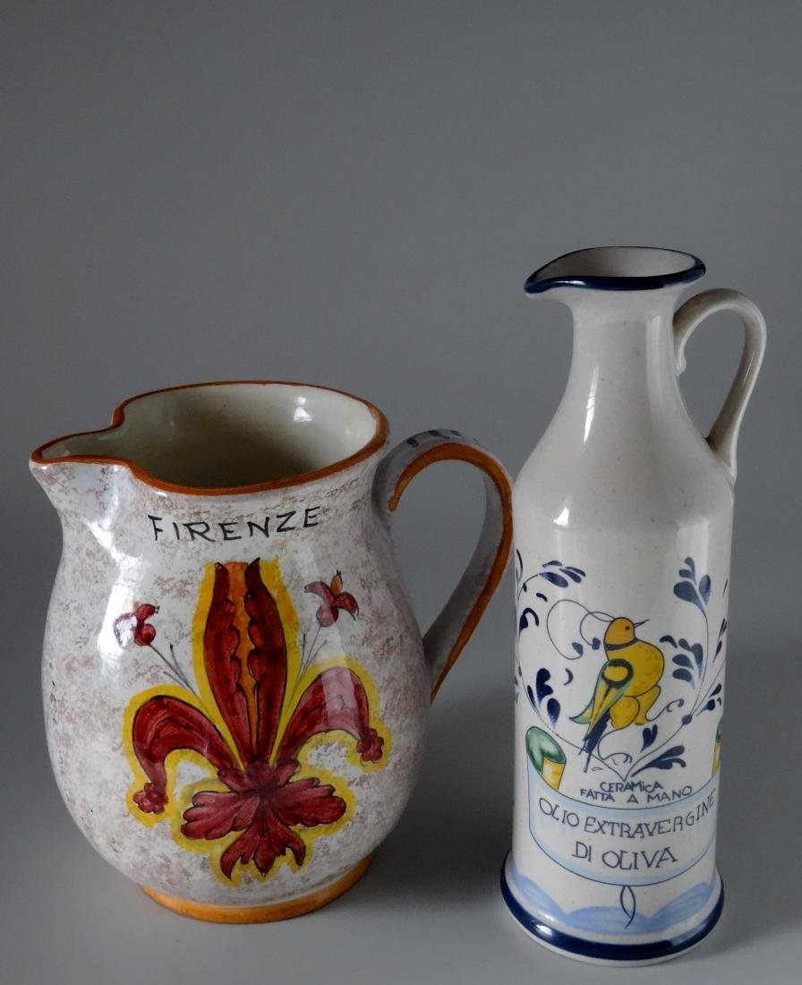 Italian Hand Painted Vessels Pitcher Bottle Lot of 2