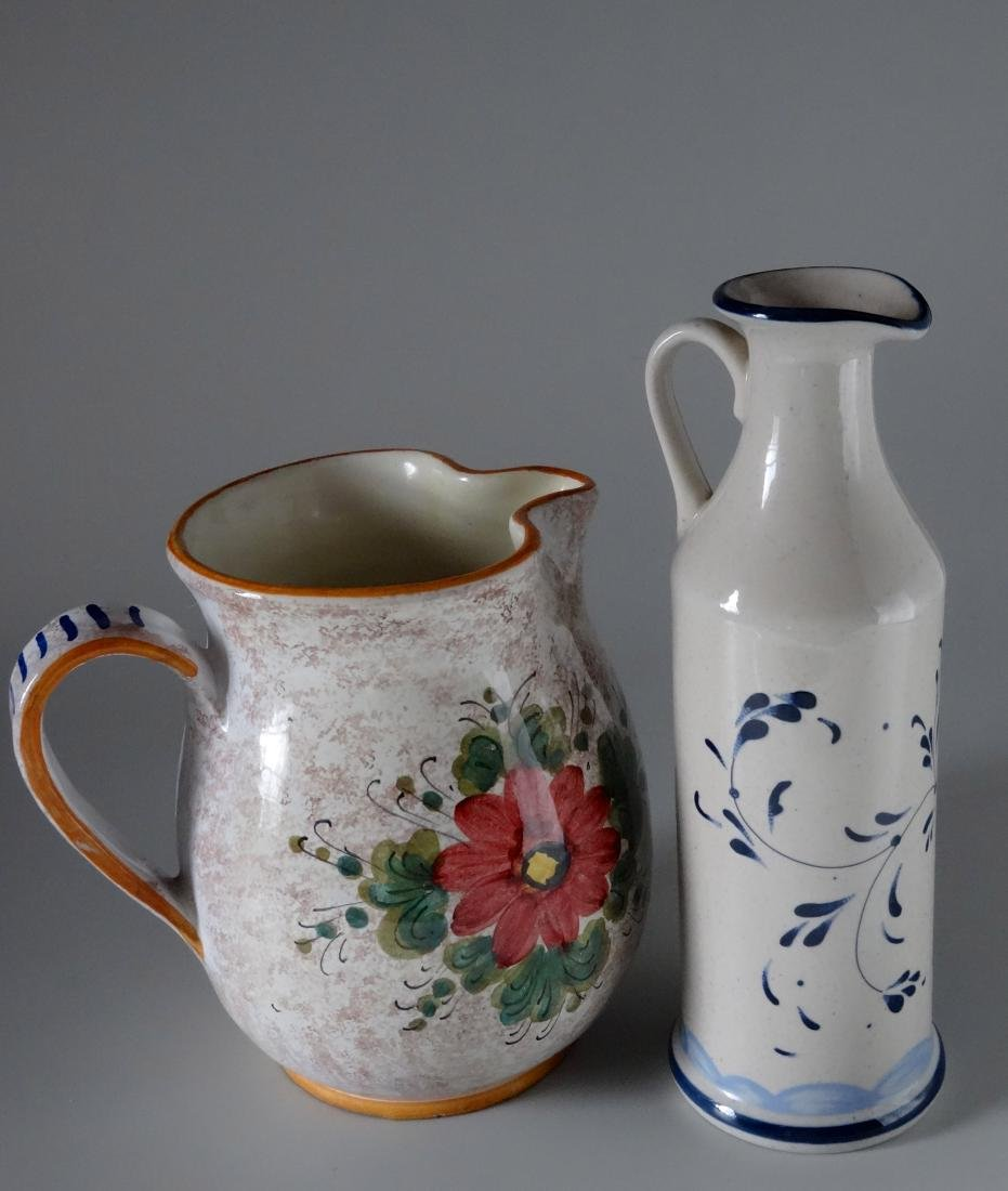 Italian Hand Painted Vessels Pitcher Bottle Lot of 2 - 2