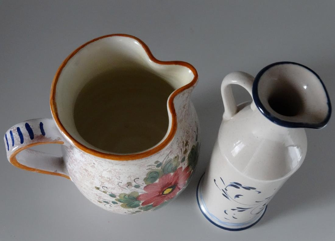 Italian Hand Painted Vessels Pitcher Bottle Lot of 2 - 3