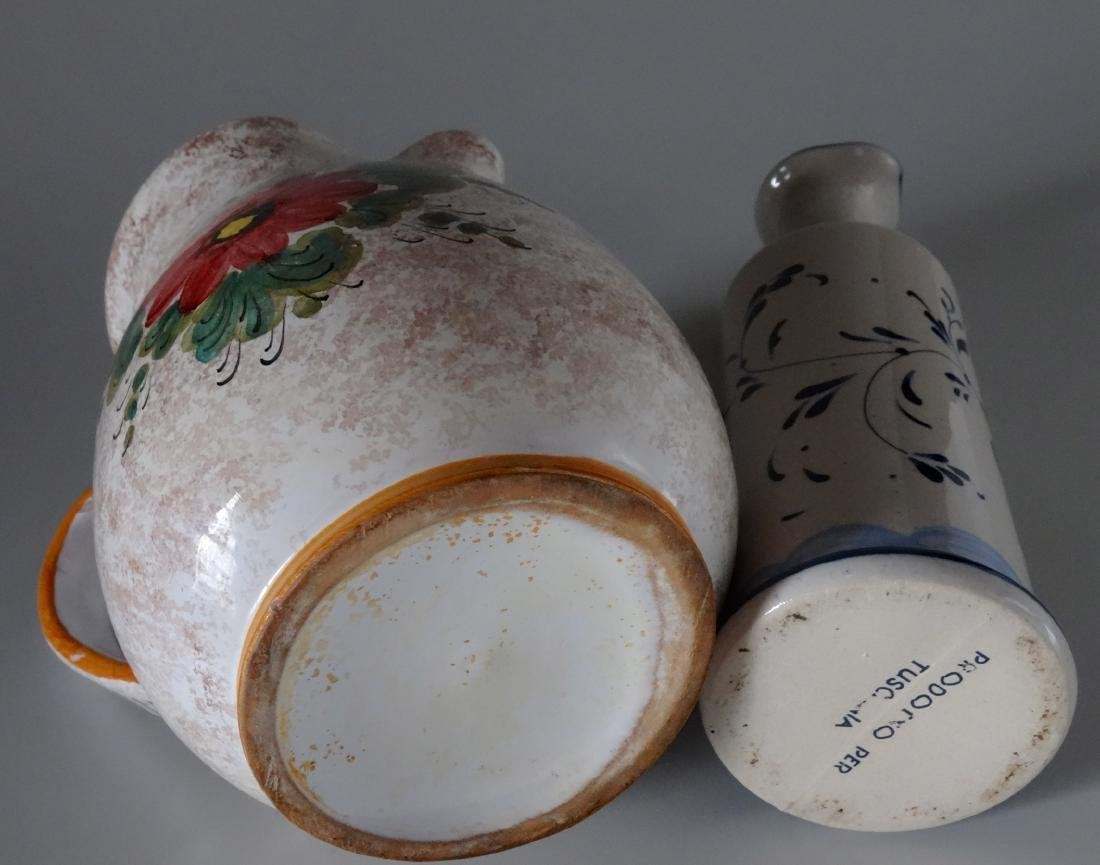 Italian Hand Painted Vessels Pitcher Bottle Lot of 2 - 4