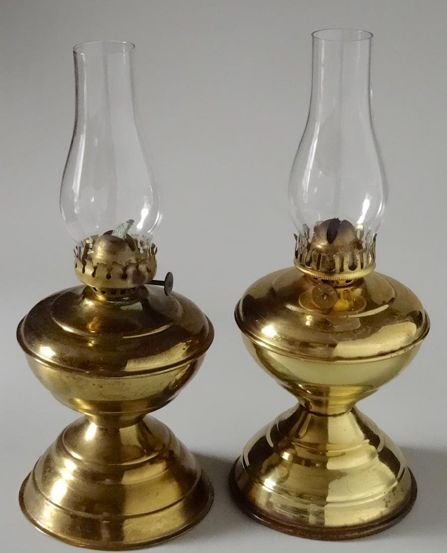 Matching Pair English Brass Kerosene Lamps