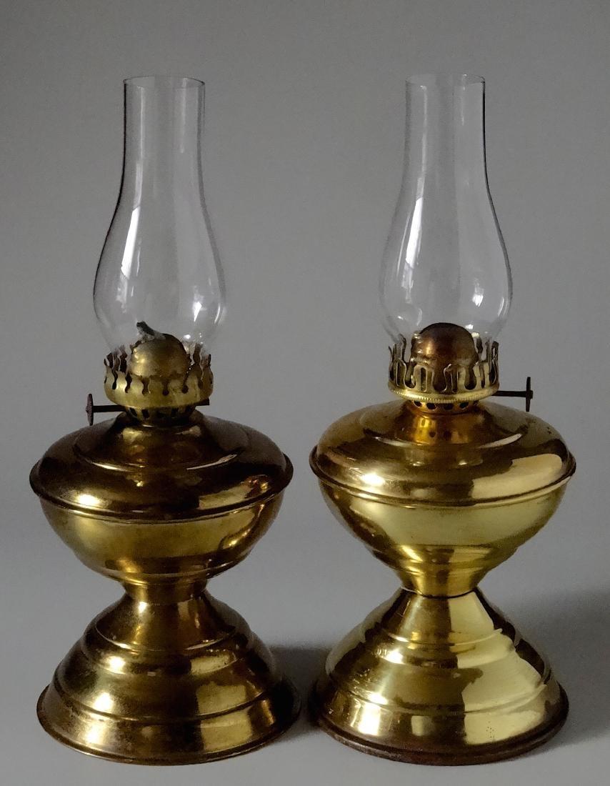 Matching Pair English Brass Kerosene Lamps - 2