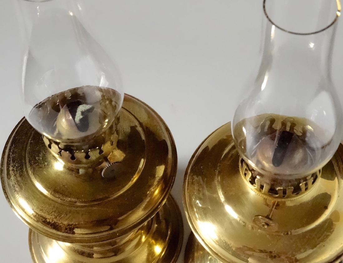 Matching Pair English Brass Kerosene Lamps - 4