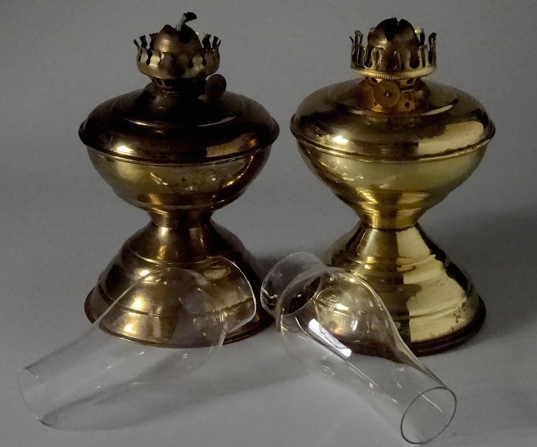 Matching Pair English Brass Kerosene Lamps - 6