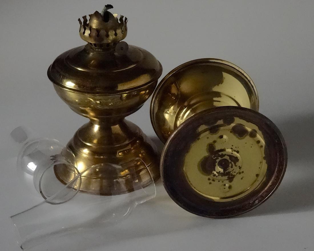 Matching Pair English Brass Kerosene Lamps - 7
