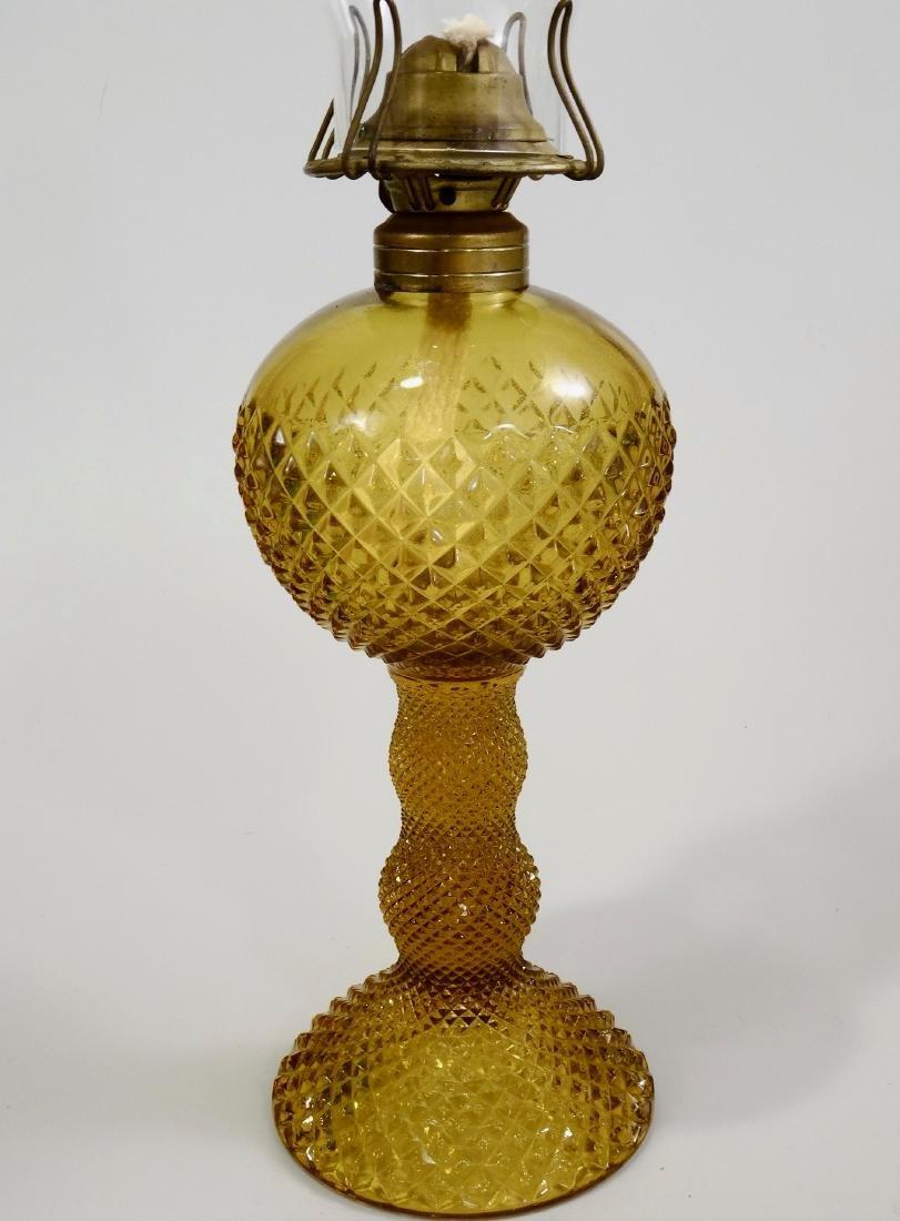 Amber EAPG Diamond Pattern Pressed Glass Kerosene Lamp - 2