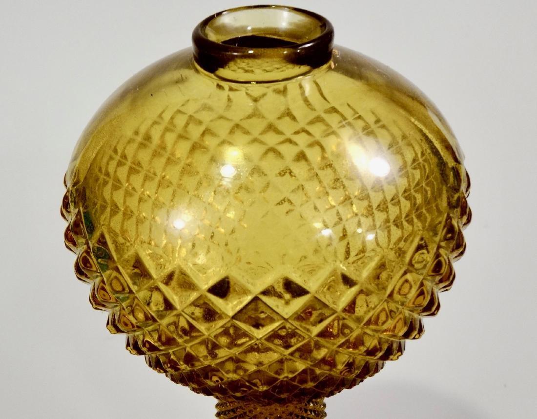 Amber EAPG Diamond Pattern Pressed Glass Kerosene Lamp - 4