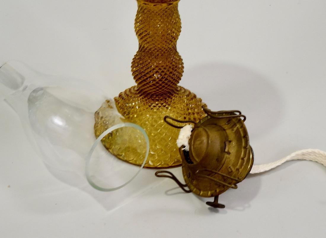 Amber EAPG Diamond Pattern Pressed Glass Kerosene Lamp - 5