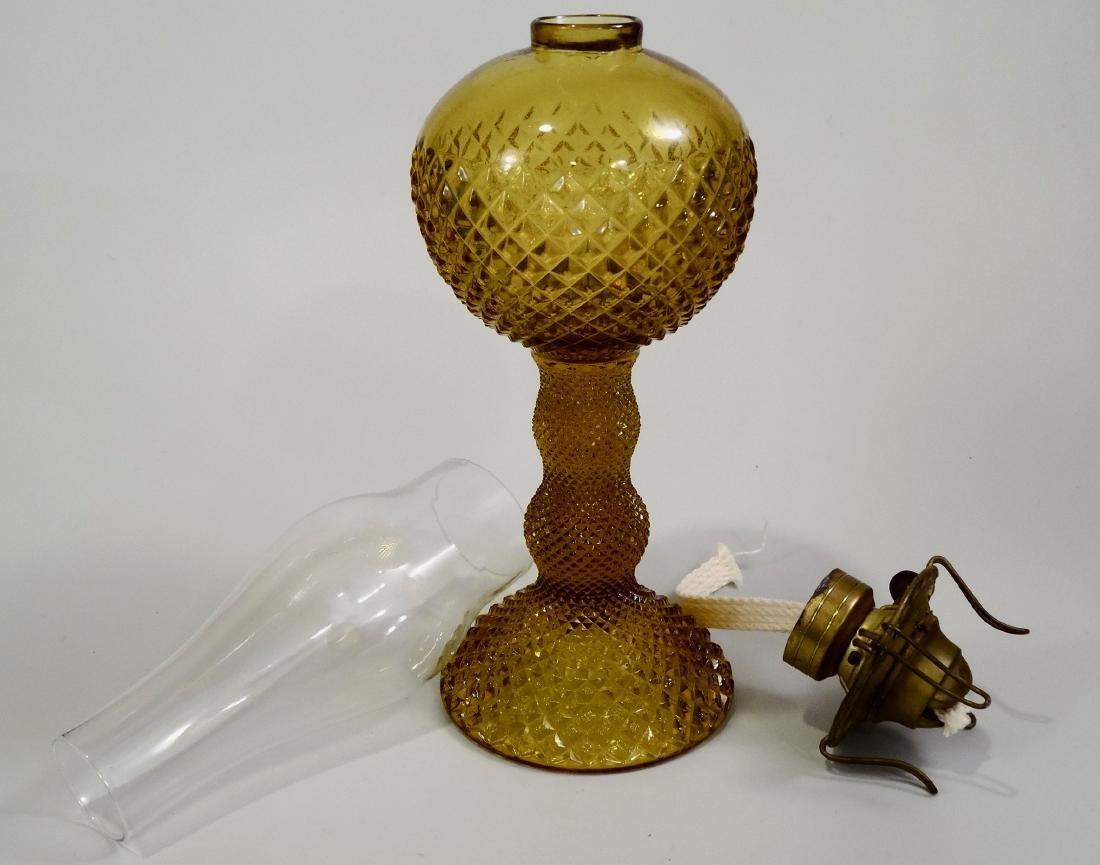 Amber EAPG Diamond Pattern Pressed Glass Kerosene Lamp - 6