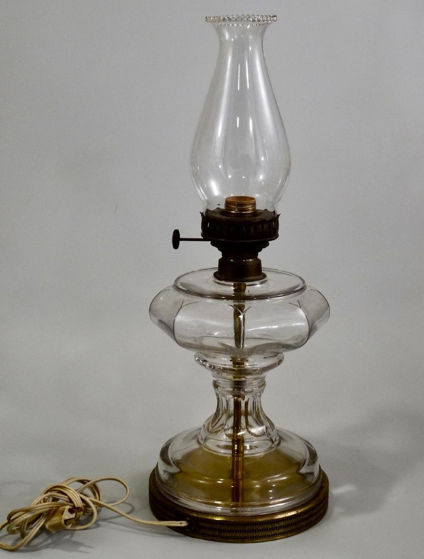Antique Kerosene Lamp Electrified Large Clear Glass - 2
