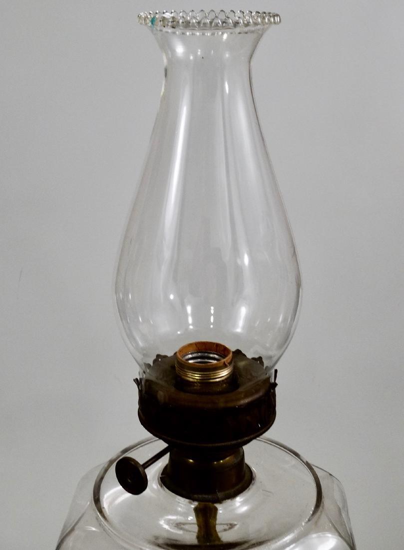 Antique Kerosene Lamp Electrified Large Clear Glass - 5