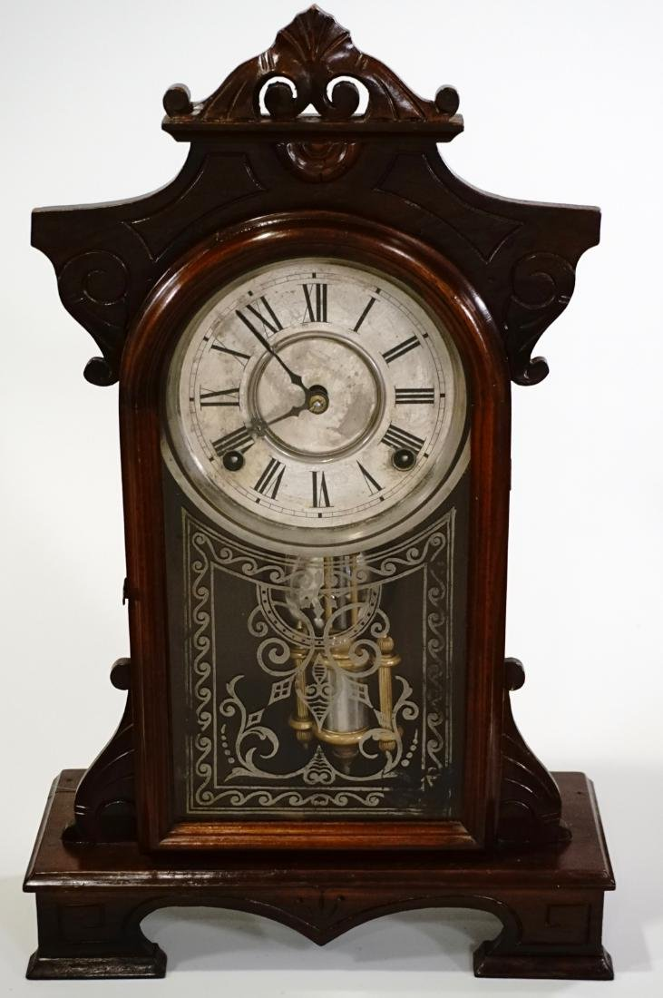 Carved Walnut Mantel Shelf Clock
