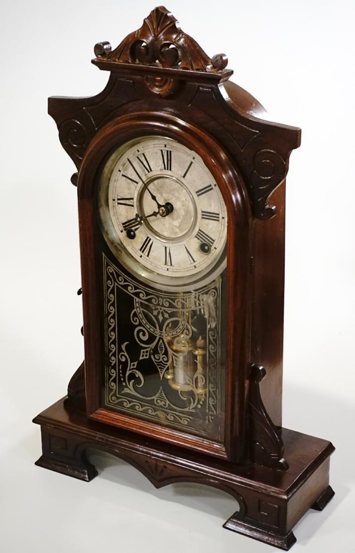 Carved Walnut Mantel Shelf Clock - 2
