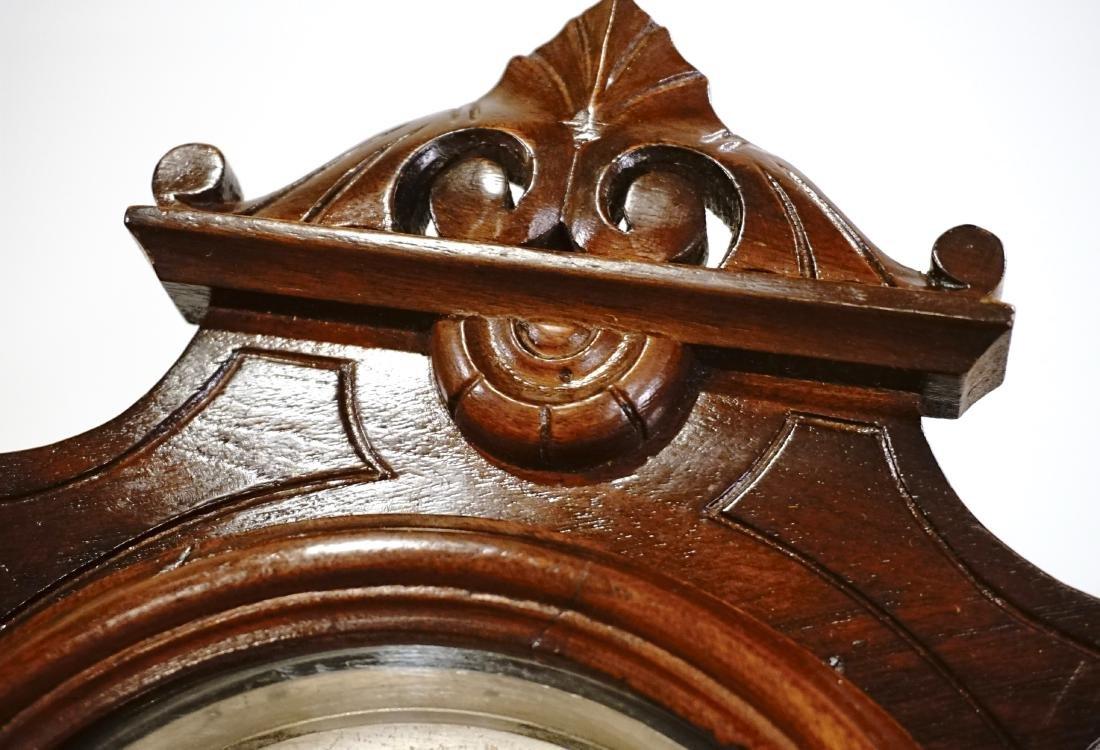 Carved Walnut Mantel Shelf Clock - 3