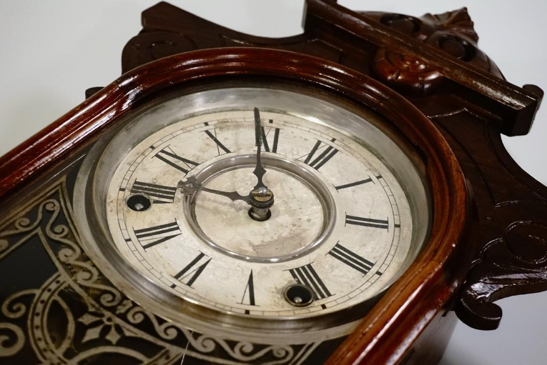 Carved Walnut Mantel Shelf Clock - 4