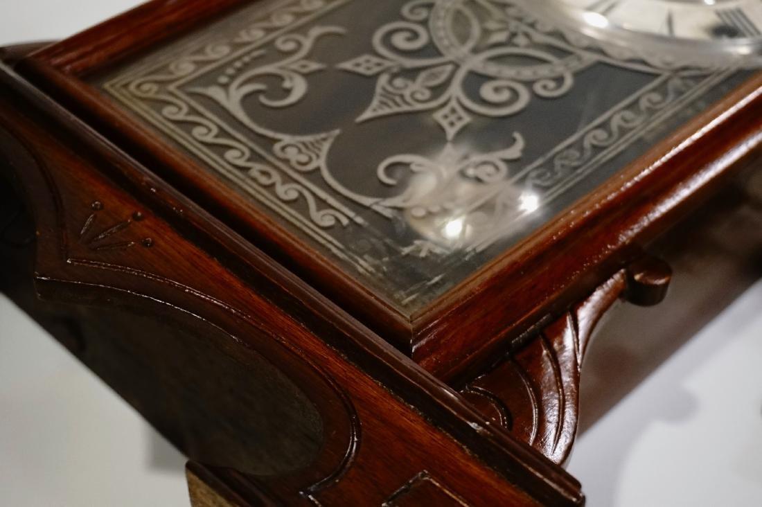 Carved Walnut Mantel Shelf Clock - 5
