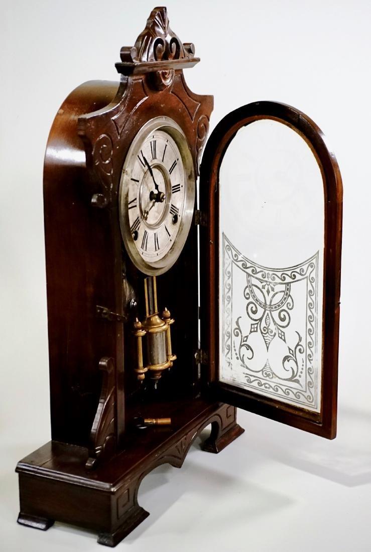 Carved Walnut Mantel Shelf Clock - 6