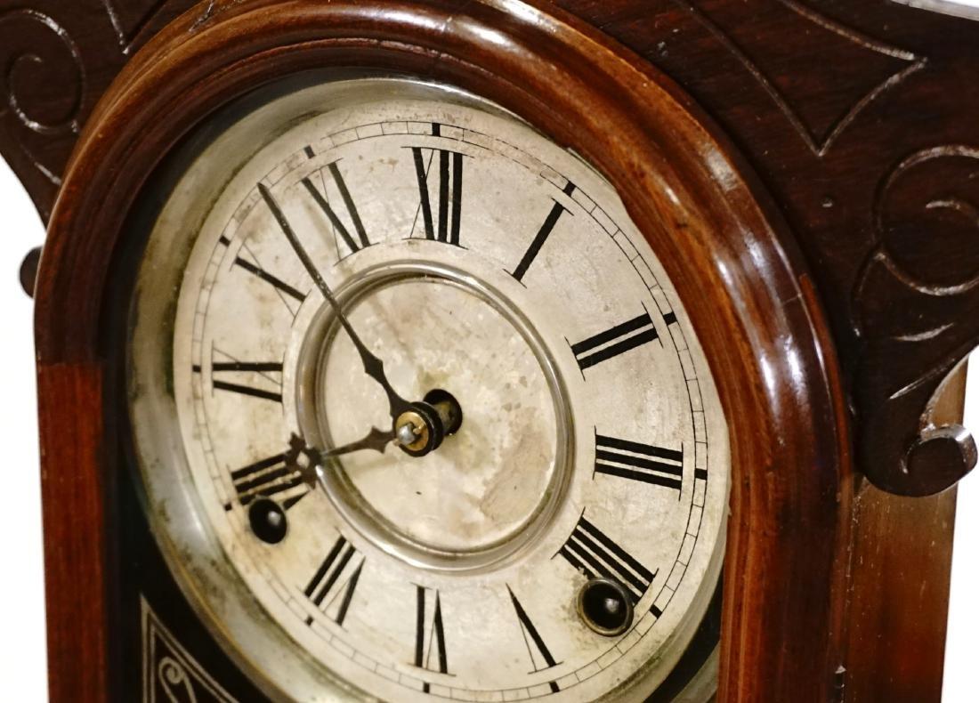 Carved Walnut Mantel Shelf Clock - 7